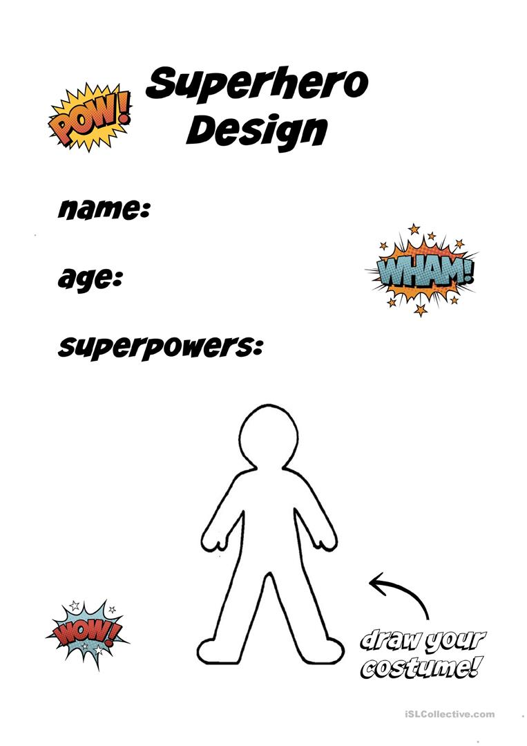 Create Your Own Superhero Worksheet : create, superhero, worksheet, Create, Superhero, English, Worksheets, Distance, Learning, Physical, Classrooms