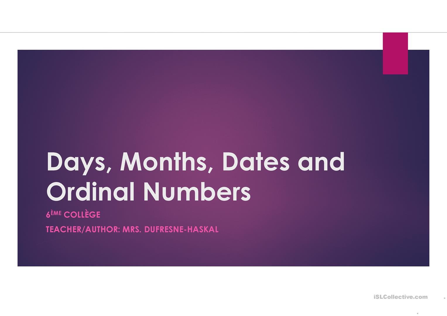 Days Months Ordinal Numbers