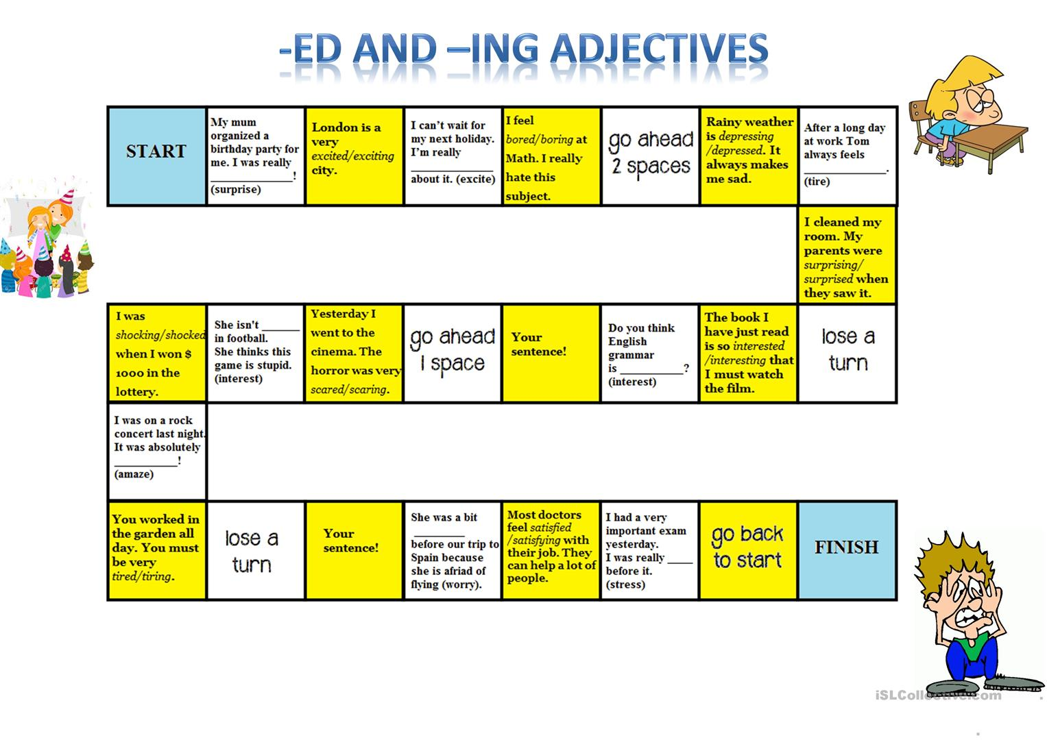 Ed Ing Adjectives Board Game
