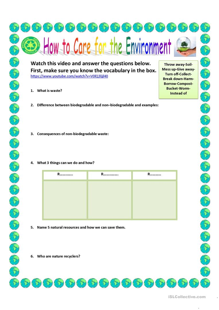 medium resolution of How to care for the environment - English ESL Worksheets for distance  learning and physical classrooms