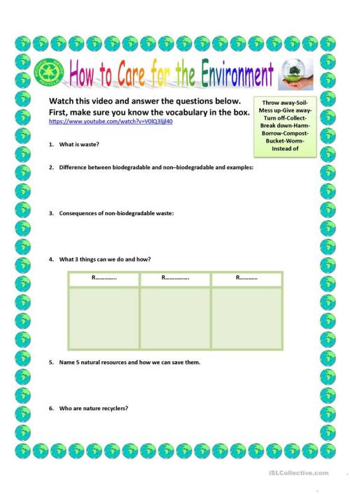 small resolution of How to care for the environment - English ESL Worksheets for distance  learning and physical classrooms