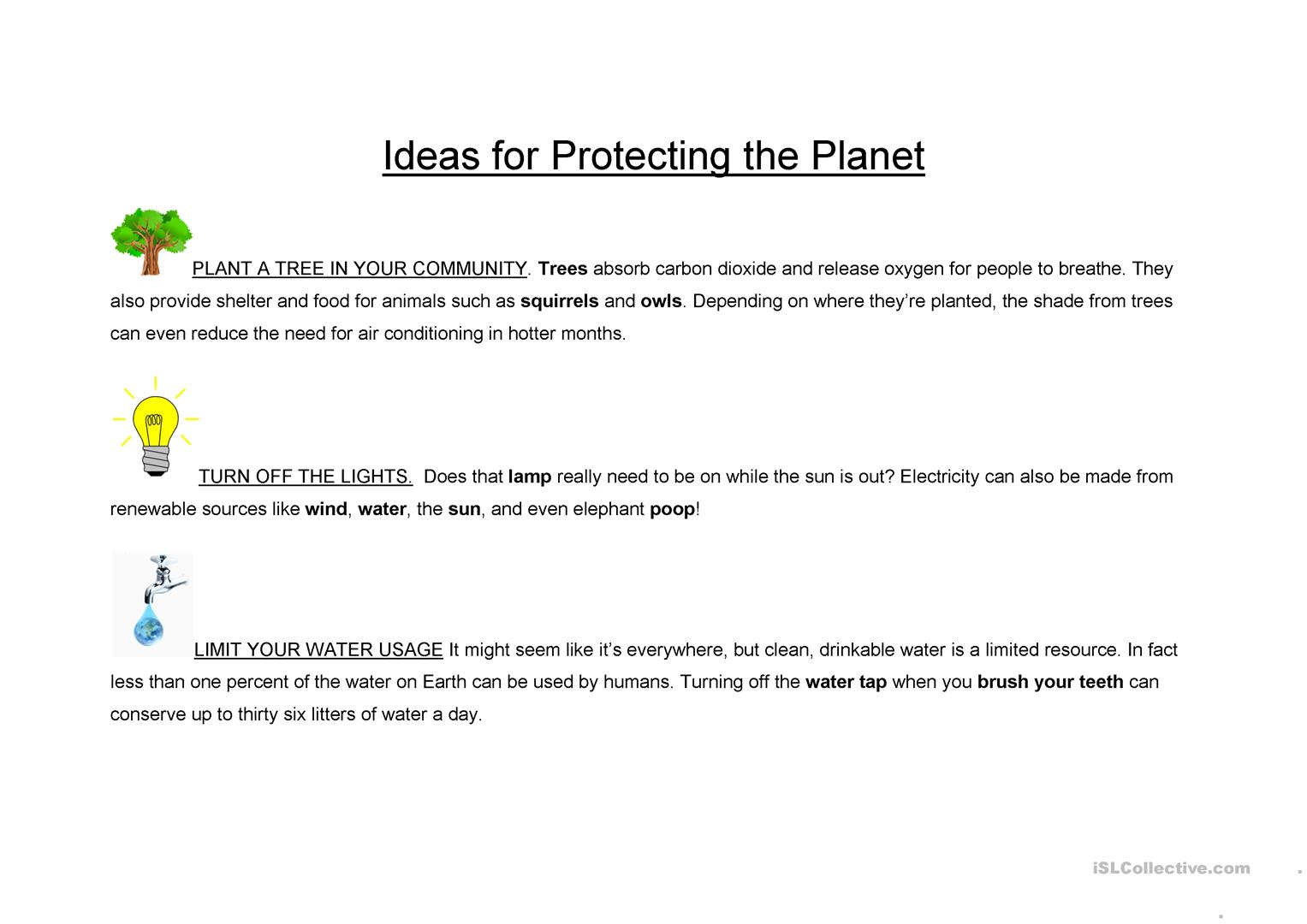 Ideas For Protecting The Planet Text Worksheet