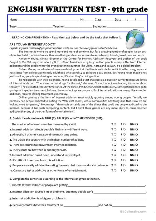 small resolution of The Internet (Test 9th grade - A2/B1) - English ESL Worksheets for distance  learning and physical classrooms