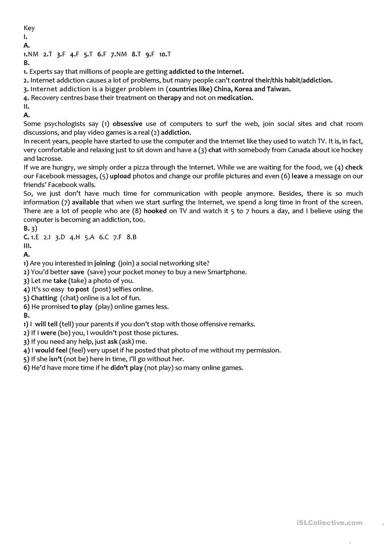 hight resolution of The Internet (Test 9th grade - A2/B1) - English ESL Worksheets for distance  learning and physical classrooms