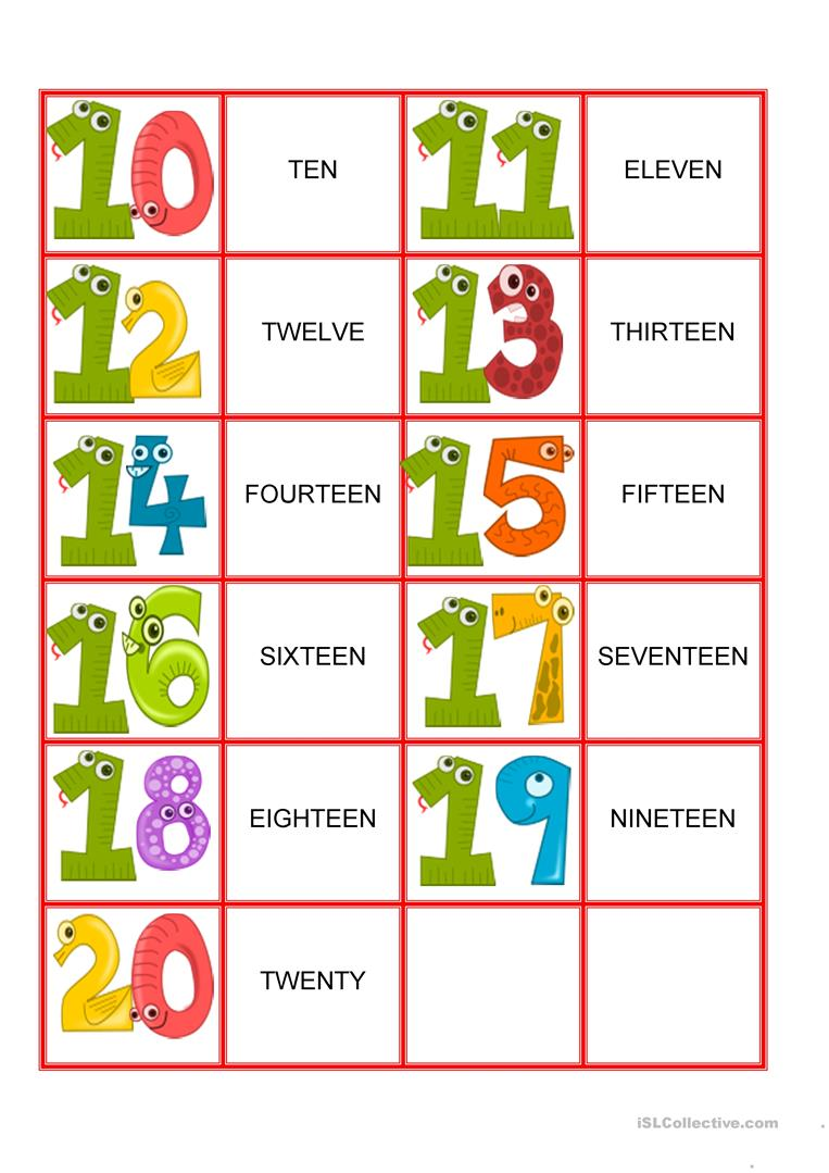 Memory Games - Numbers from 1-20 - English ESL Worksheets for distance learning and physical classrooms