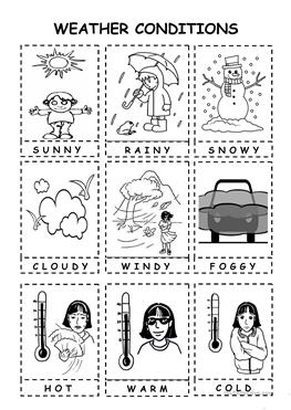 11 FREE ESL weather conditions worksheets