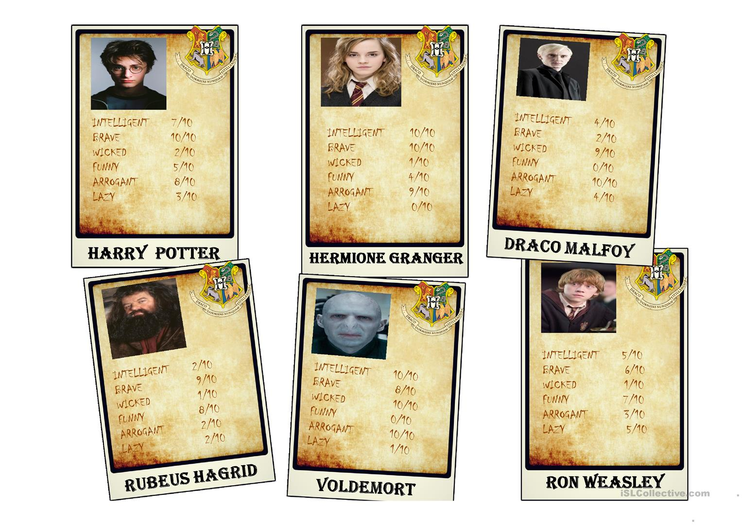 Cards With The Harry Potter Characters Worksheet