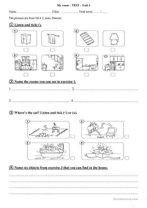 small resolution of My room - test for 2nd grade - English ESL Worksheets for distance learning  and physical classrooms