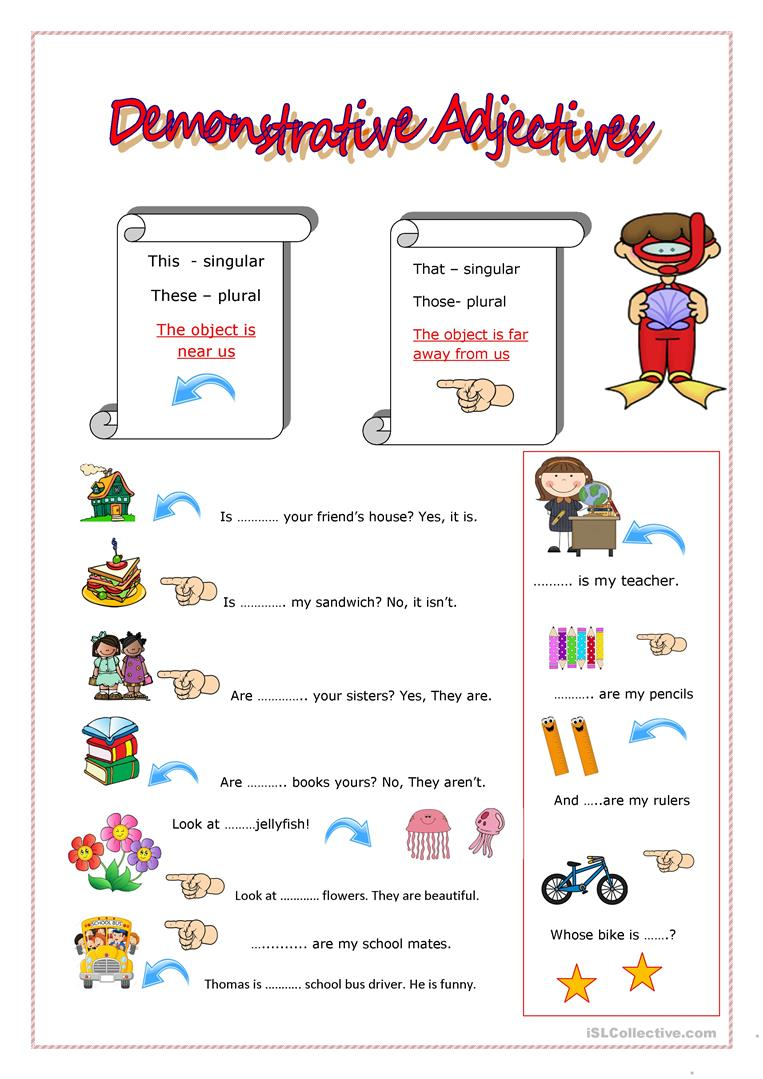 medium resolution of DEMONSTRATIVE ADJECTIVES - English ESL Worksheets for distance learning and  physical classrooms