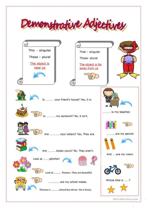 small resolution of DEMONSTRATIVE ADJECTIVES - English ESL Worksheets for distance learning and  physical classrooms