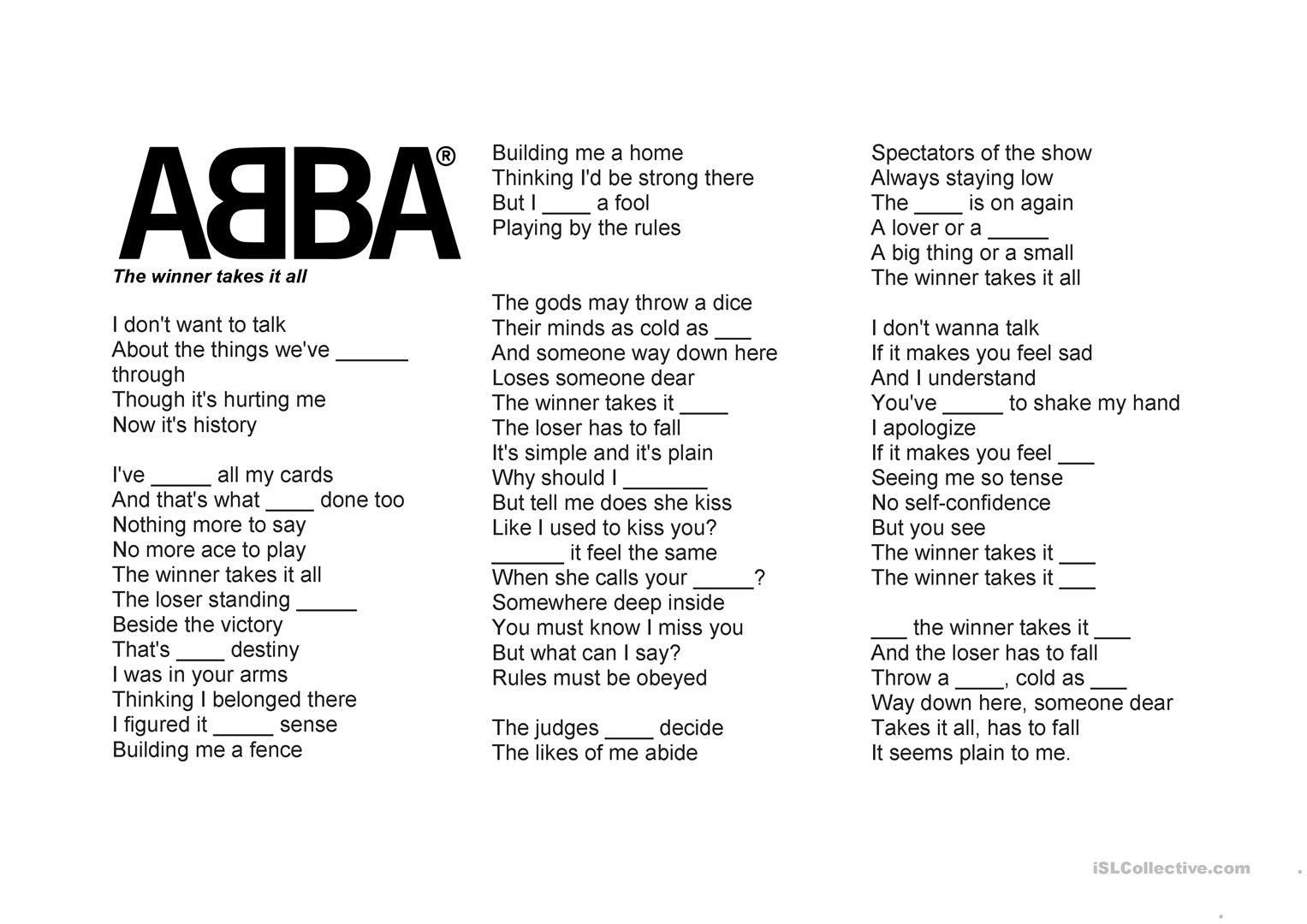 Present Perfect Abba Gap Fill