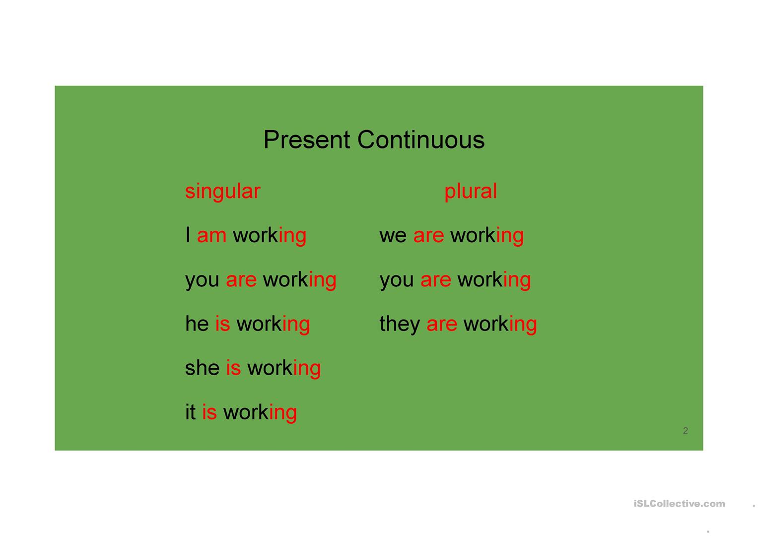 Revision Of Present Tenses