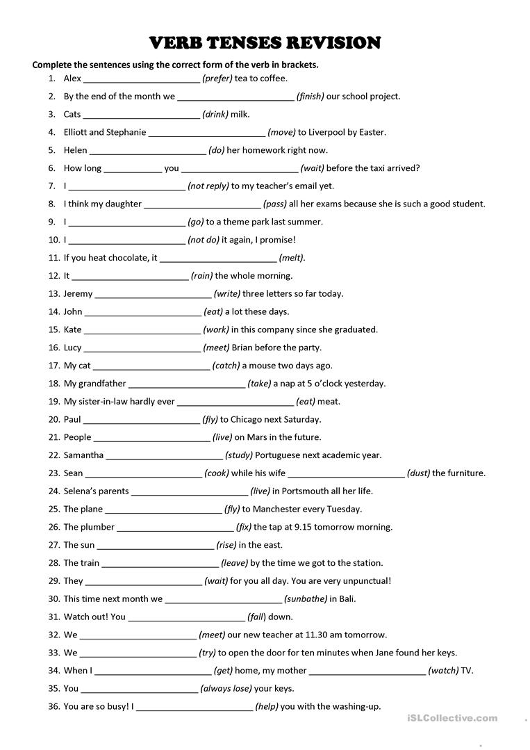 hight resolution of VERB TENSES - Revision Exercise - English ESL Worksheets for distance  learning and physical classrooms