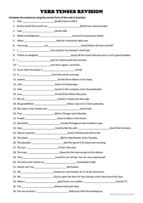 small resolution of VERB TENSES - Revision Exercise - English ESL Worksheets for distance  learning and physical classrooms
