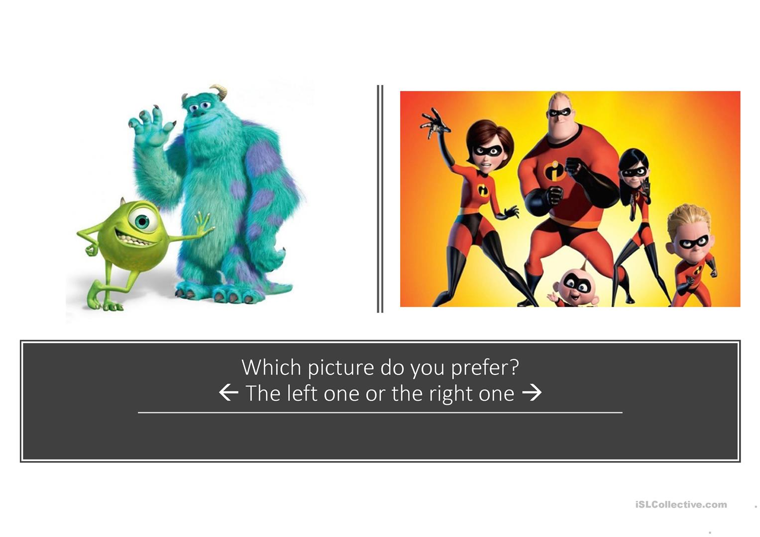 Speaking Activity Which One Or Ones Do You Prefer Worksheet