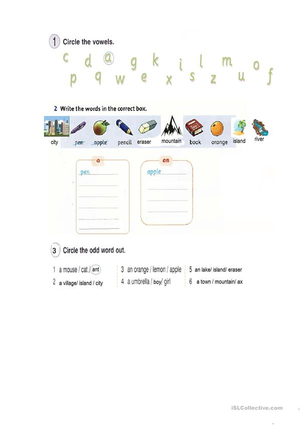 Indefinite article for kids and teens - English ESL Worksheets for distance learning and physical classrooms