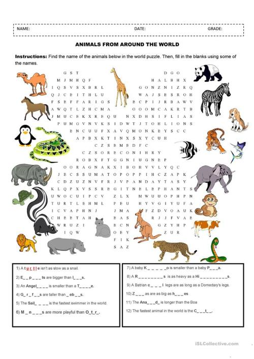 small resolution of Animals - English ESL Worksheets for distance learning and physical  classrooms