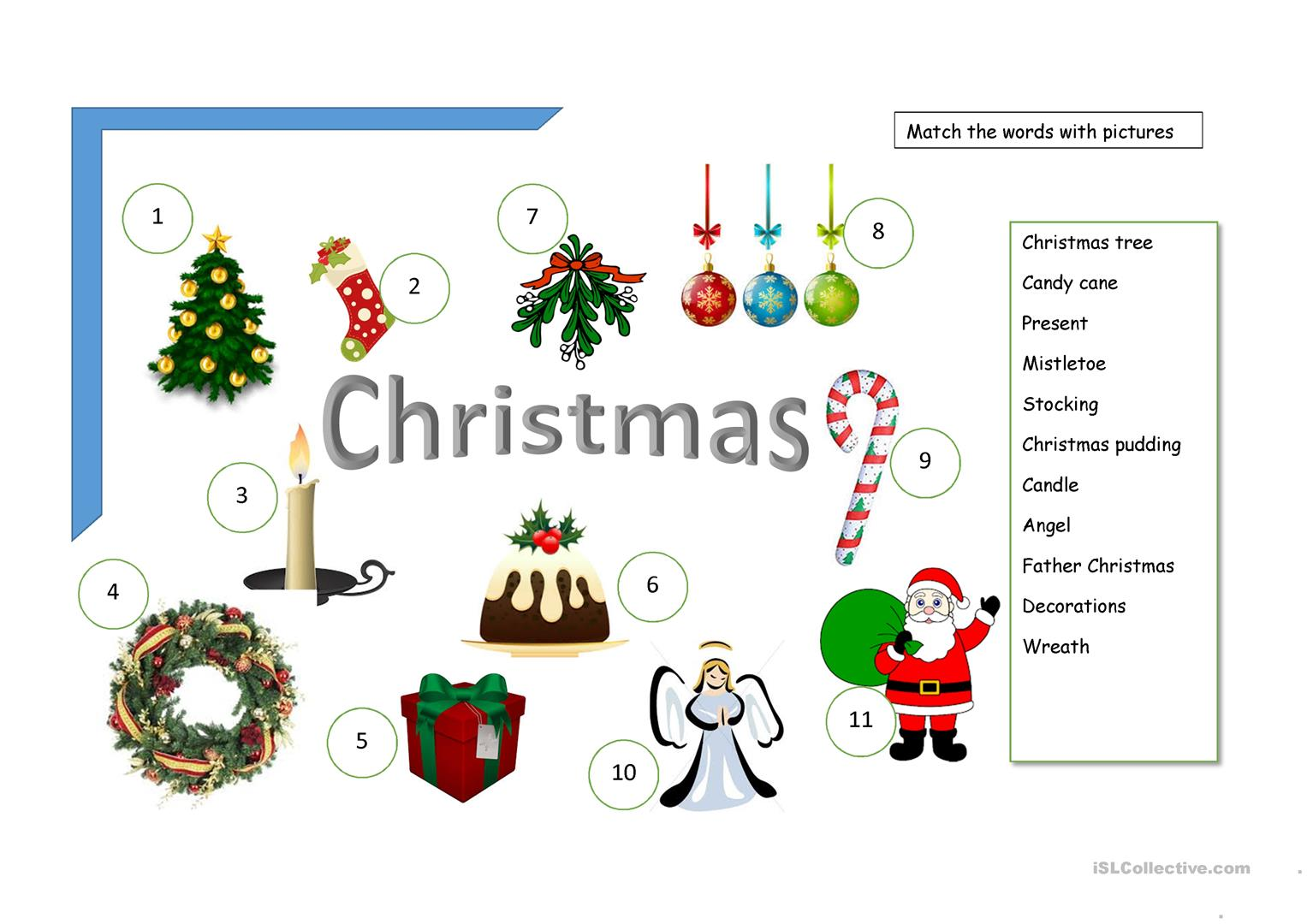 Christmas Decorations Vocabulary