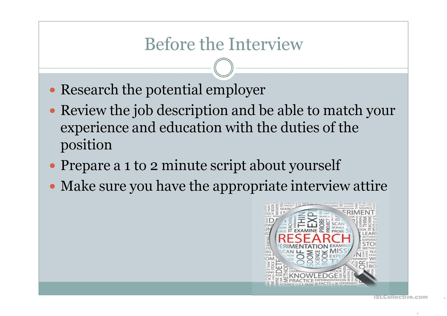 Job Interview Worksheet