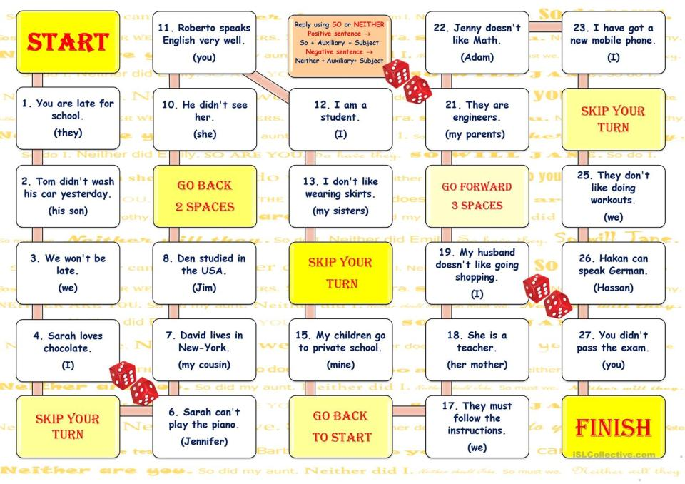 So-Neither Board Game - English ESL Worksheets for distance ...