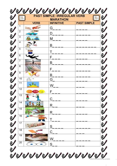 small resolution of PAST SIMPLE IRREGULAR VERBS WITH PICTURES AND GAPS! - English ESL Worksheets  for distance learning and physical classrooms