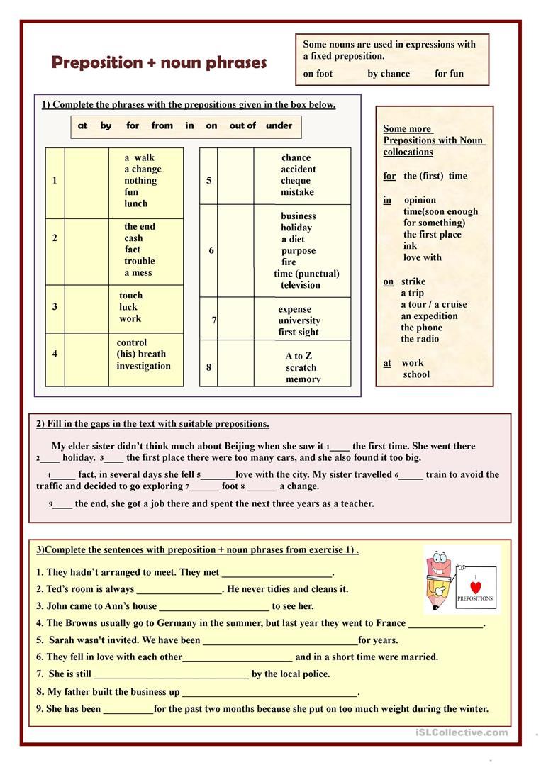 medium resolution of Preposition + noun phrases - English ESL Worksheets for distance learning  and physical classrooms