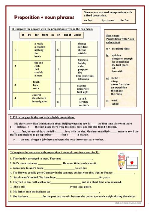 small resolution of Preposition + noun phrases - English ESL Worksheets for distance learning  and physical classrooms