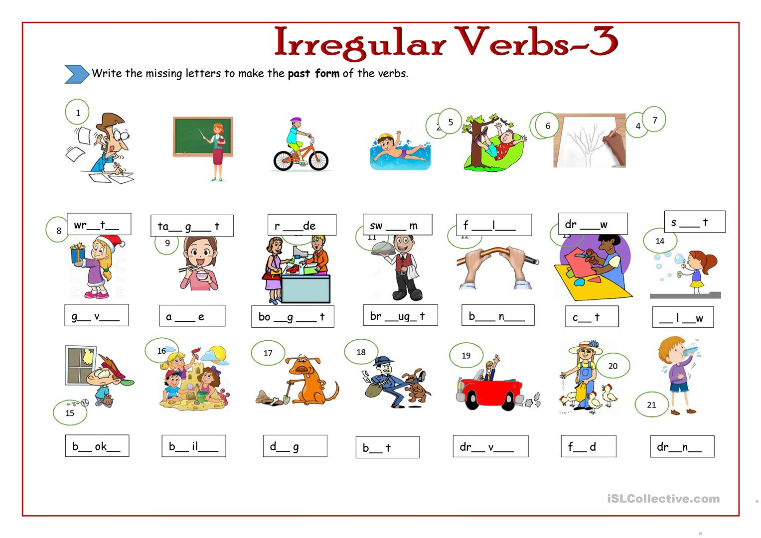 Irregular Verbs 3 Worksheet