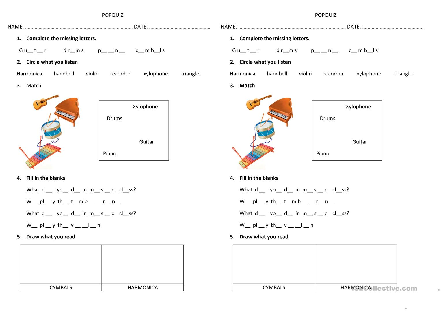 Music Instruments Worksheet