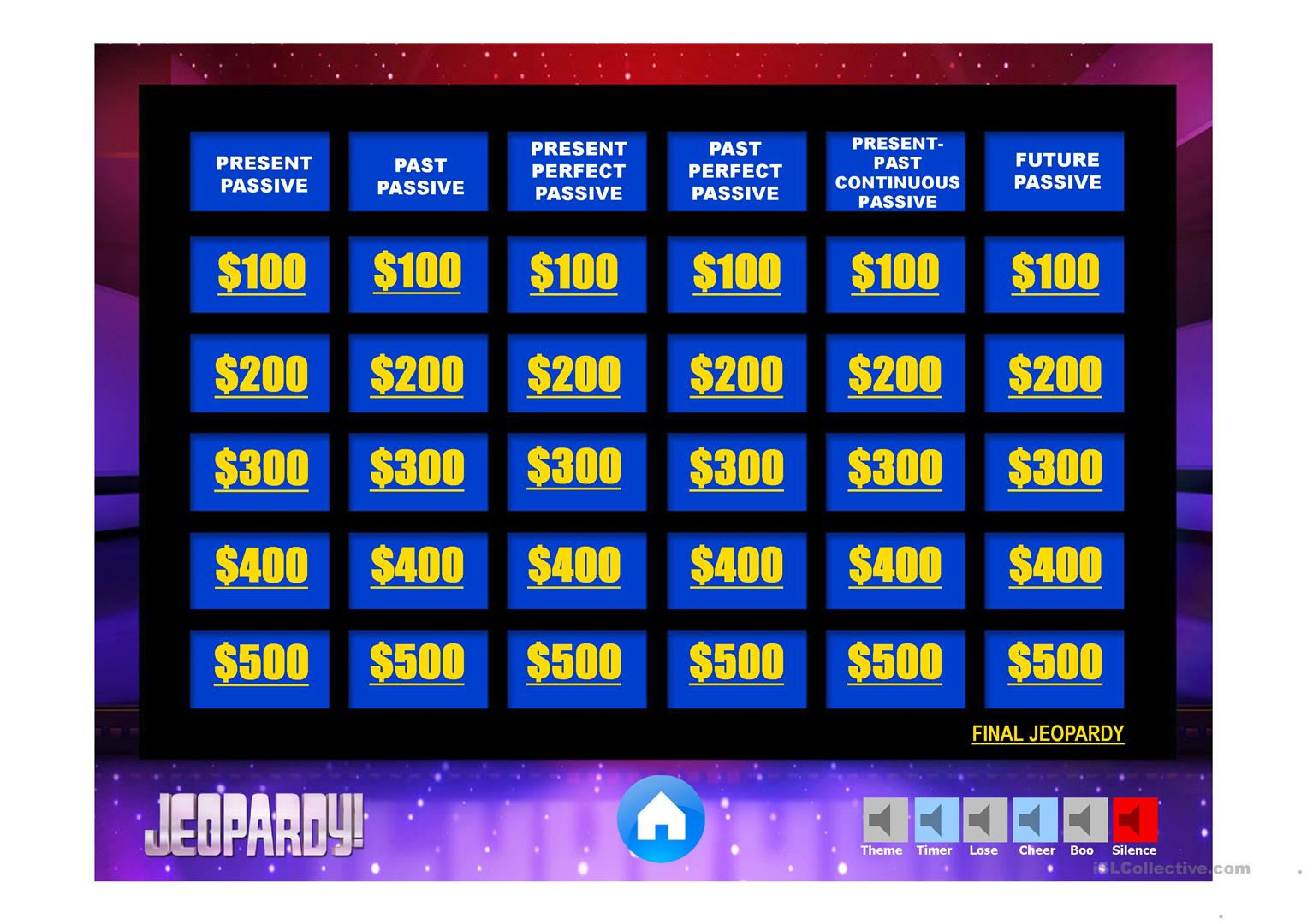 Passive Review Jeopardy Game Worksheet