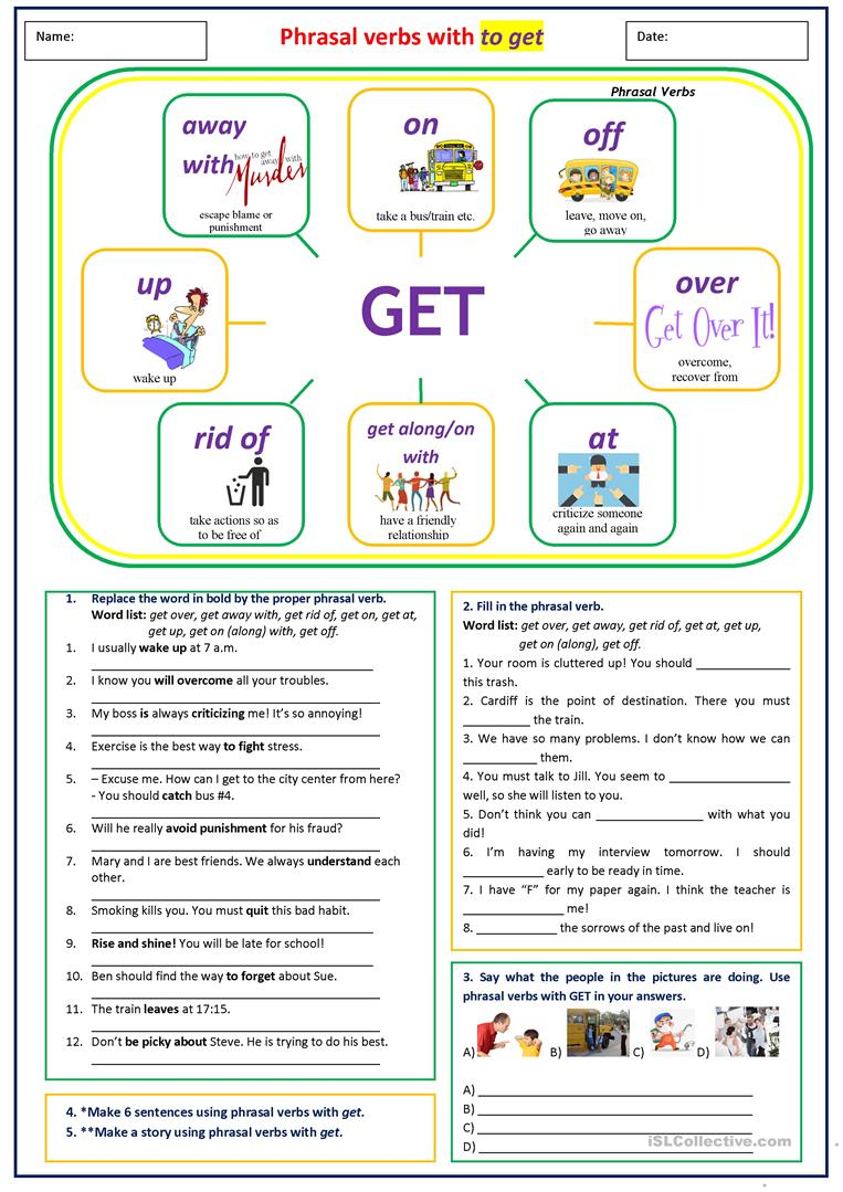 medium resolution of Phrasal verbs with GET - English ESL Worksheets for distance learning and  physical classrooms