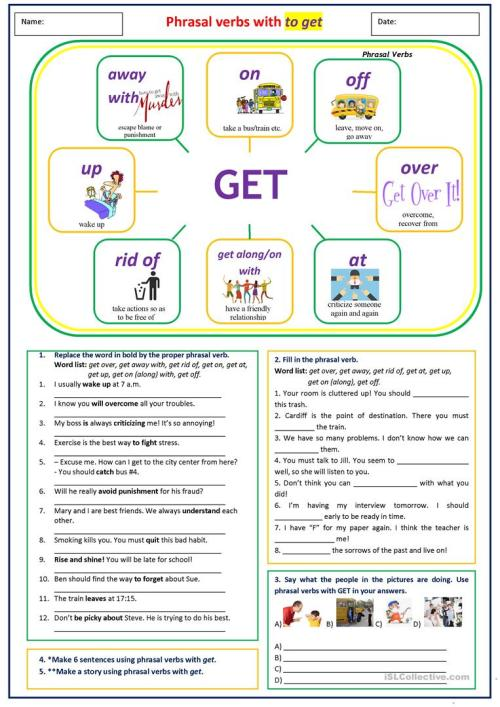 small resolution of Phrasal verbs with GET - English ESL Worksheets for distance learning and  physical classrooms
