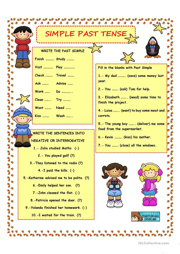 medium resolution of SIMPLE PAST TENSE - REGULAR VERBS - English ESL Worksheets for distance  learning and physical classrooms
