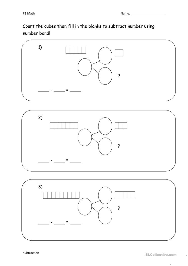 hight resolution of Subtract with number bond - English ESL Worksheets for distance learning  and physical classrooms