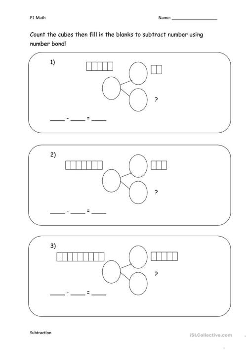 small resolution of Subtract with number bond - English ESL Worksheets for distance learning  and physical classrooms