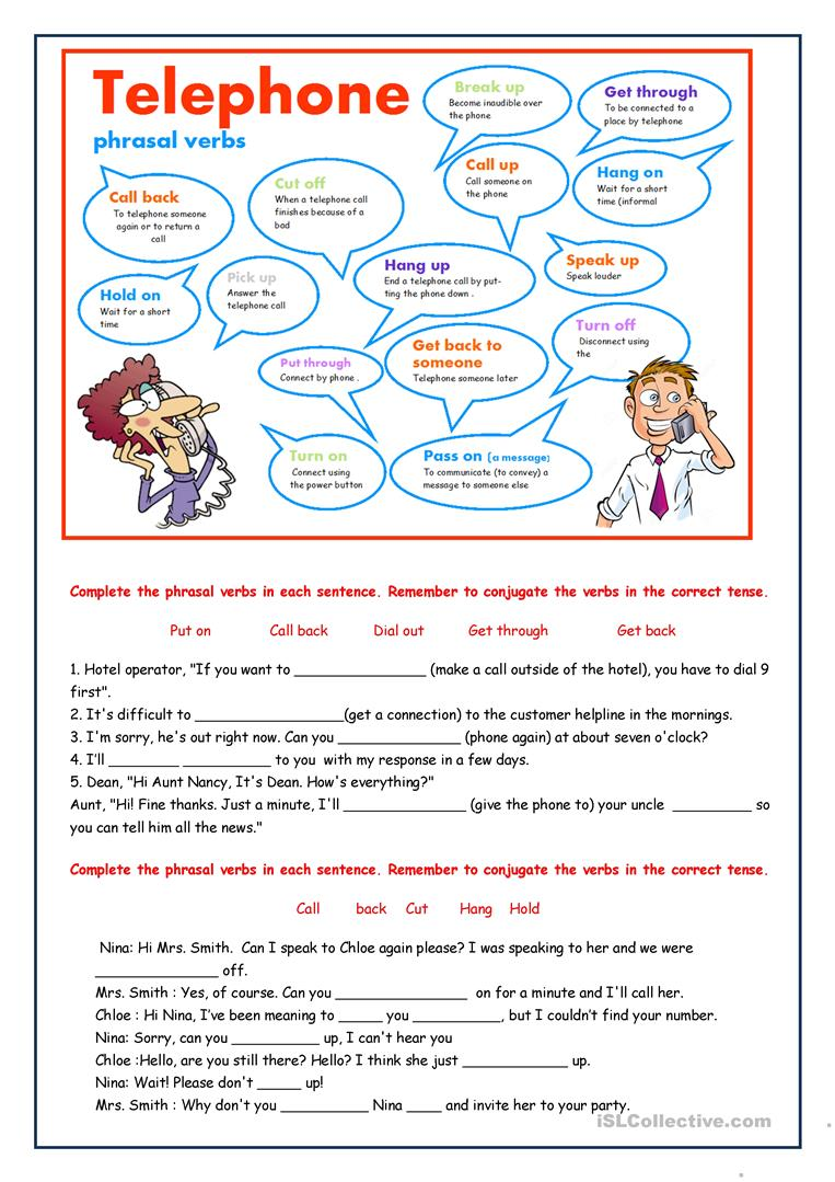medium resolution of Telephone phrasal verbs - English ESL Worksheets for distance learning and  physical classrooms