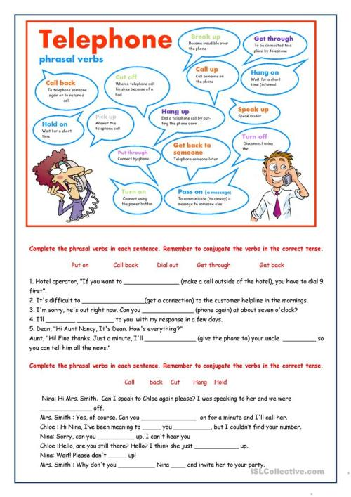 small resolution of Telephone phrasal verbs - English ESL Worksheets for distance learning and  physical classrooms