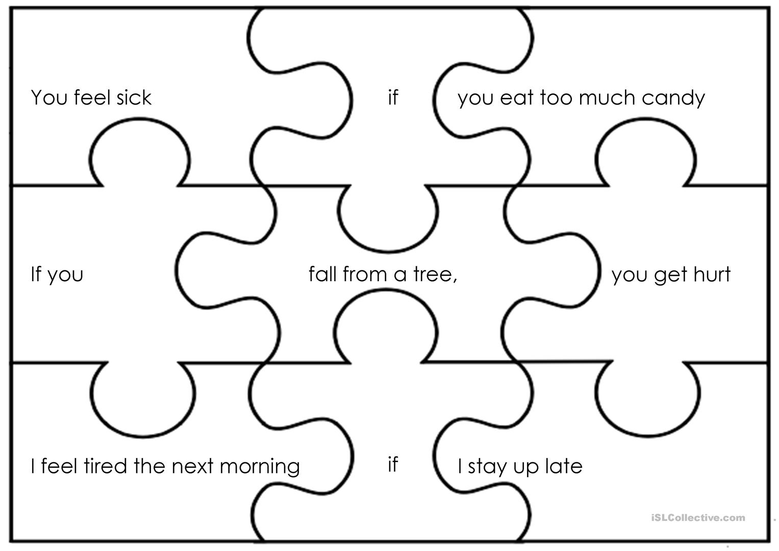 Zero Conditional Puzzles Worksheet