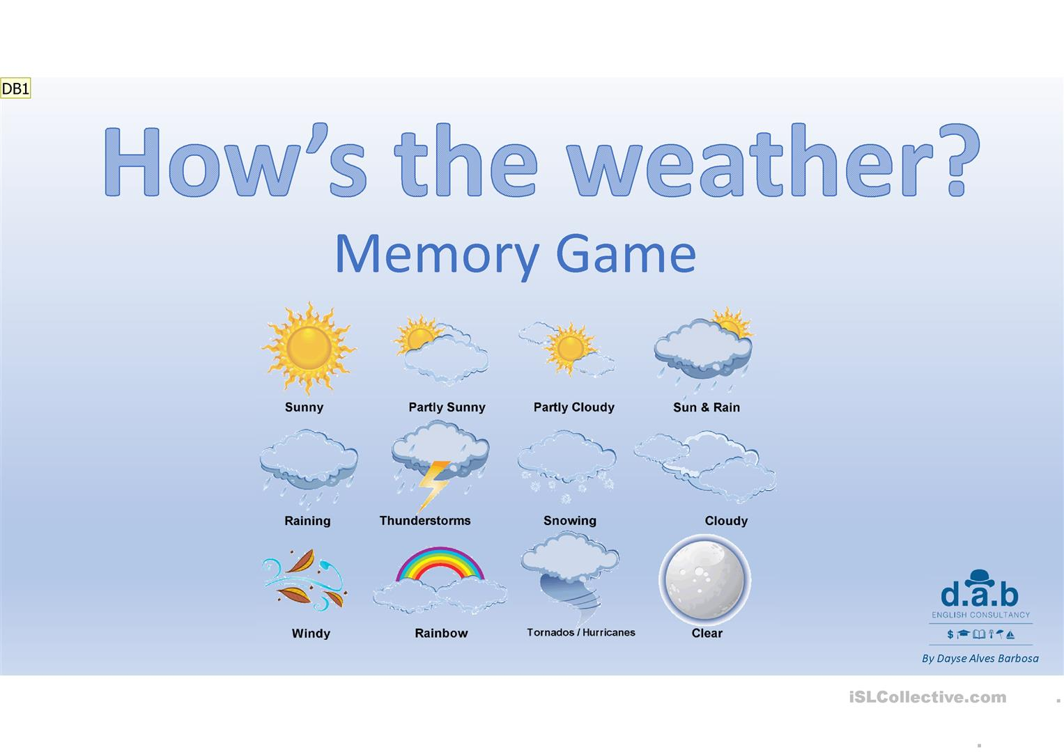 Memory Game Weather Worksheet