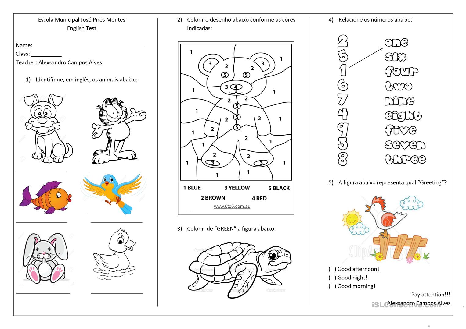 Tests For First And Second Grade Worksheet