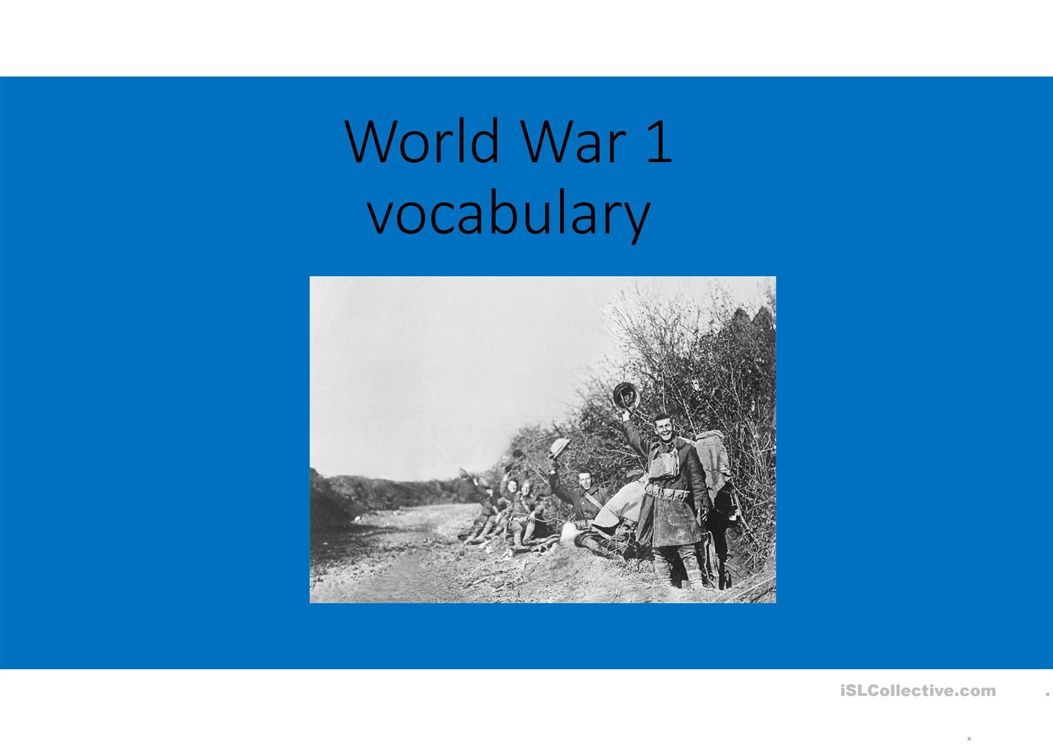 World War One History Vocabulary Words Worksheet