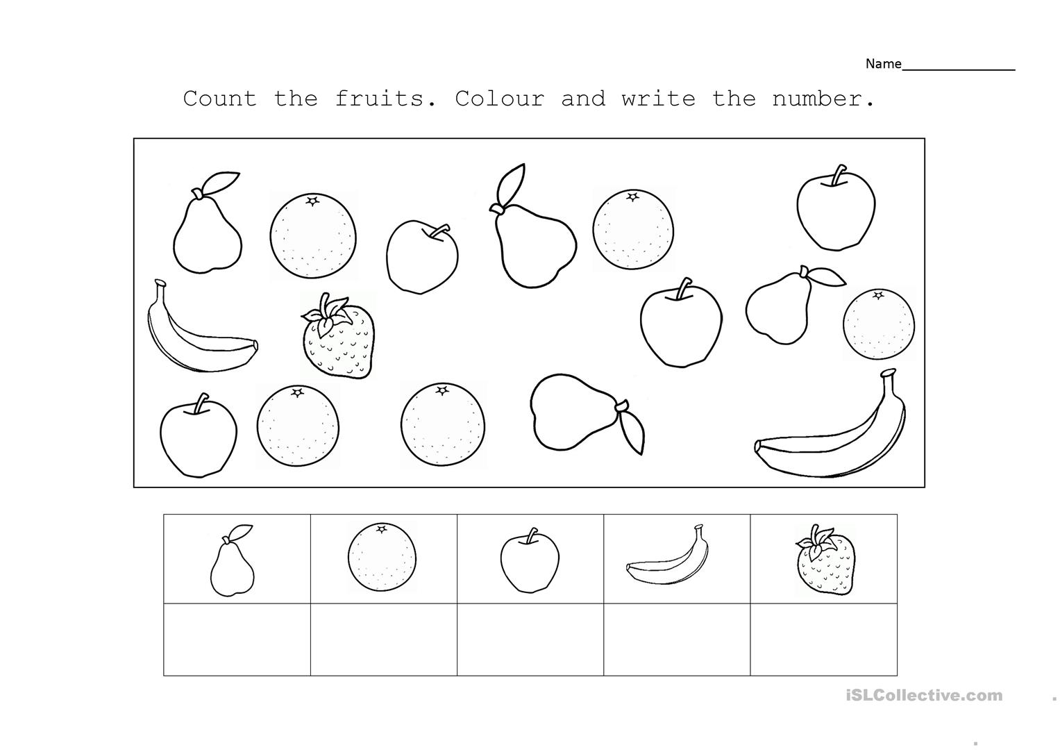 Counting And Fruits Worksheet