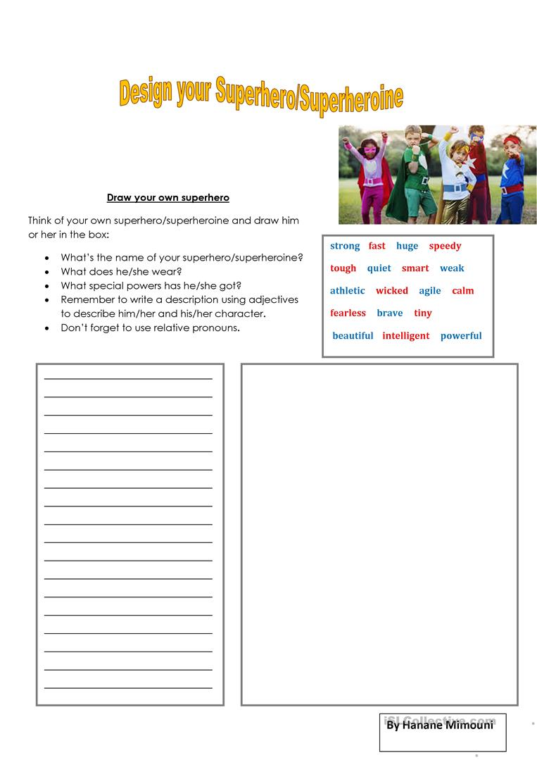 Create Your Own Superhero Worksheet : create, superhero, worksheet, Superhero/Superheroine, English, Worksheets, Distance, Learning, Physical, Classrooms
