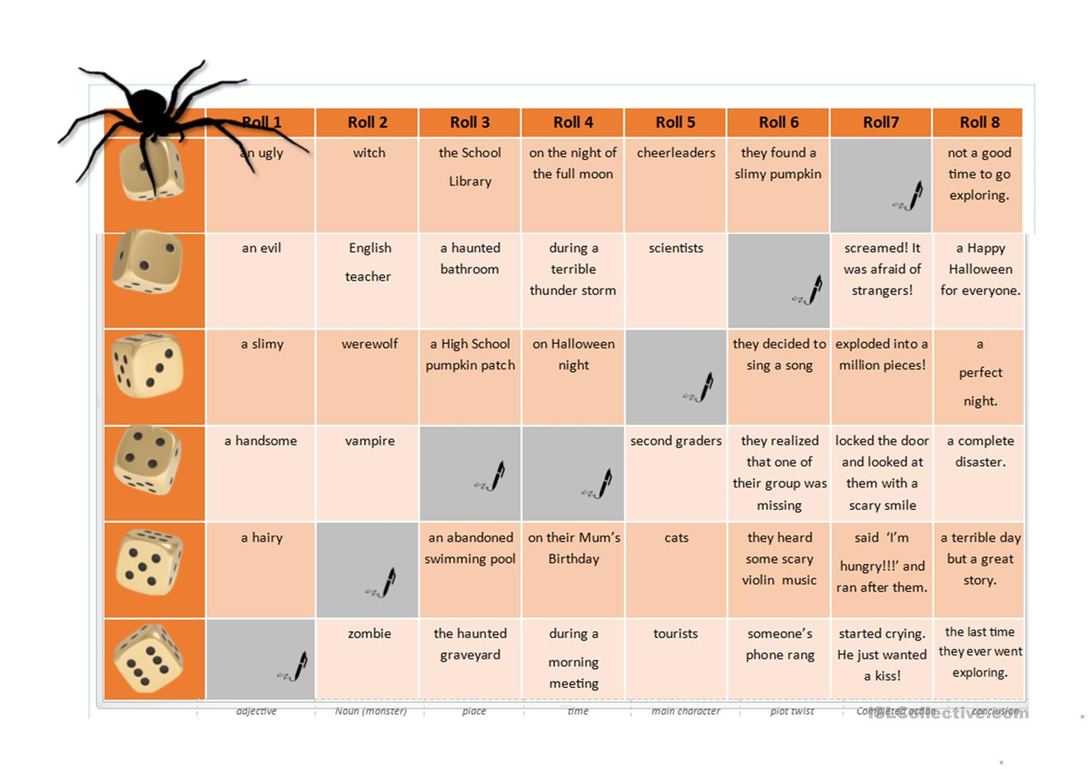 Halloween Roll A Story Thriller Quiz Vocabulary