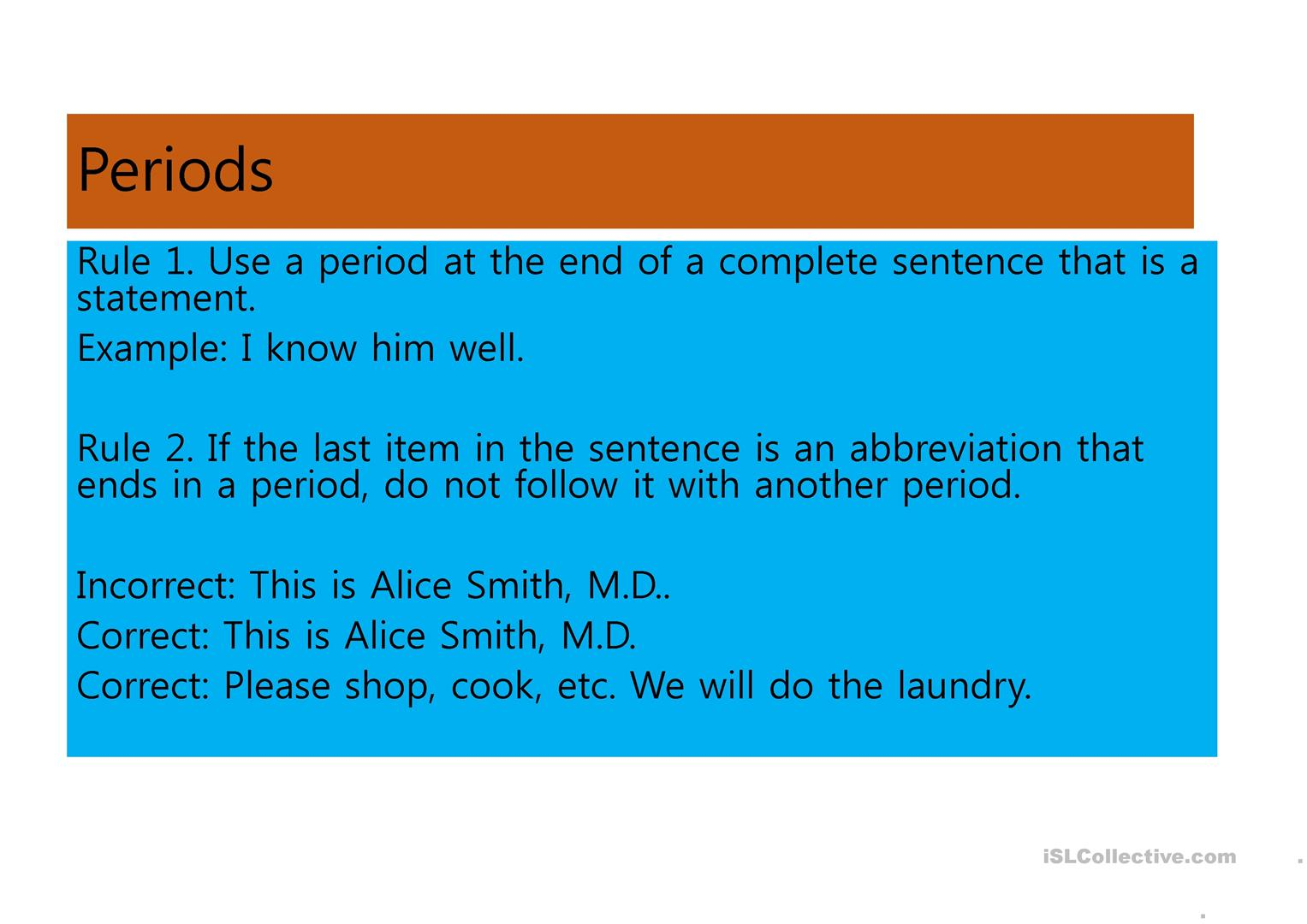 Punctuations Powerpoint Look For Worksheet On My Page