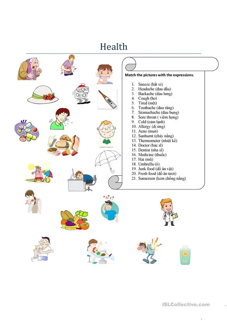 hight resolution of Unit 2 health 1 grade 7th - English ESL Worksheets for distance learning  and physical classrooms