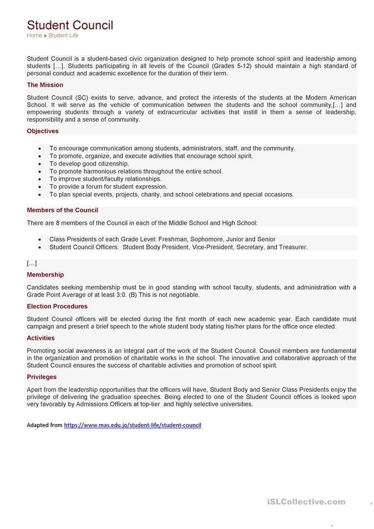 medium resolution of Student council - English ESL Worksheets for distance learning and physical  classrooms