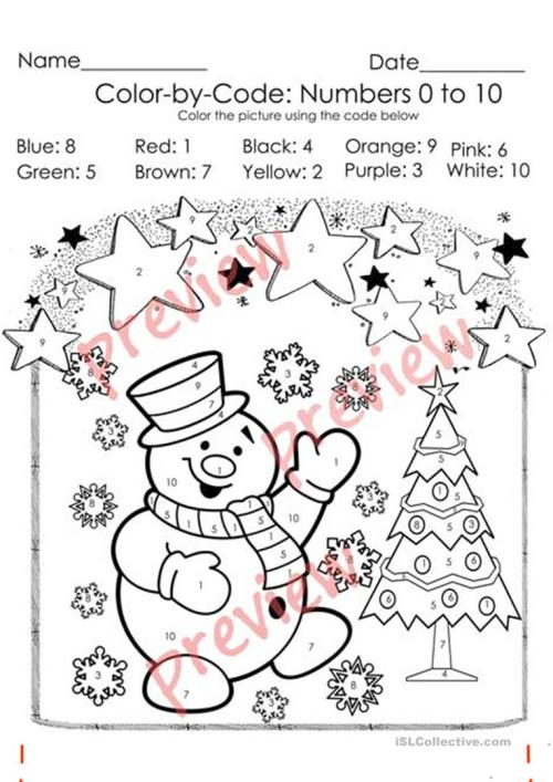 small resolution of Christmas Color by Code - Christmas Coloring Pages - Numbers 1-10 Activities  - English ESL Worksheets for distance learning and physical classrooms