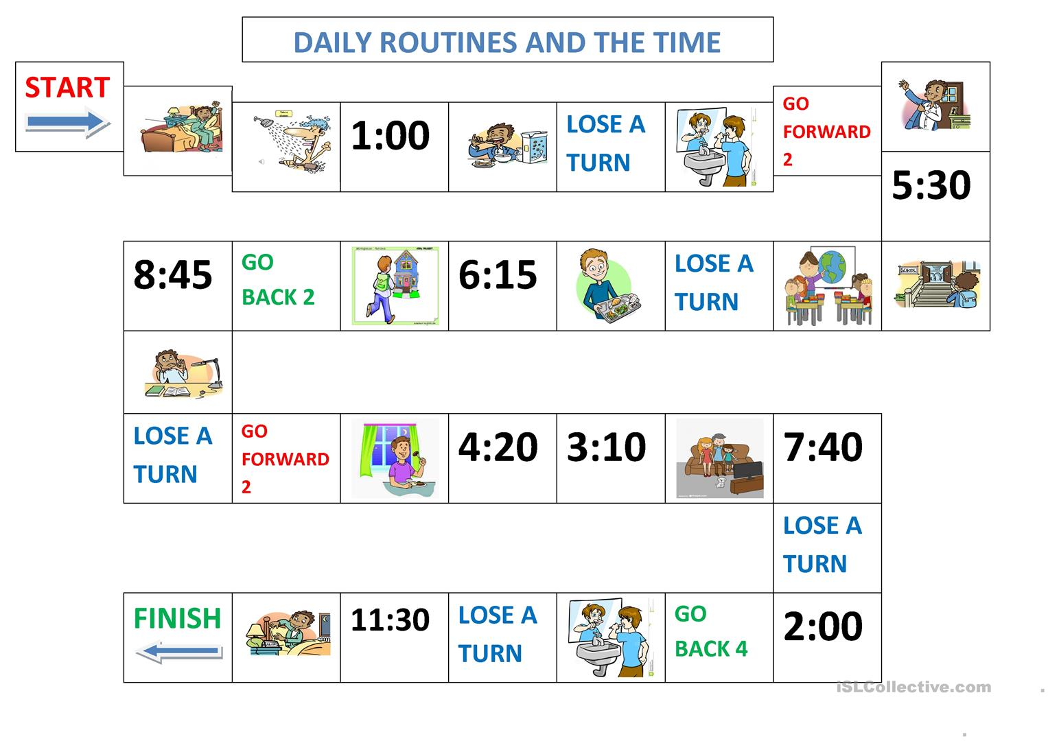Daily Routines Board Game