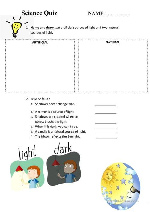 small resolution of Light and dark quiz - English ESL Worksheets for distance learning and  physical classrooms